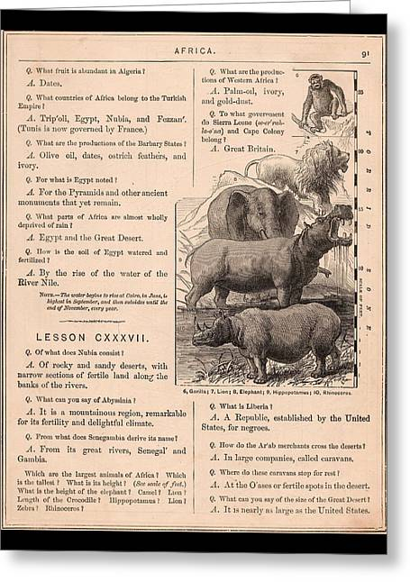 Lessons Greeting Cards - Victorian Africa Geography Lesson Greeting Card by Peter Gumaer Ogden Gallery