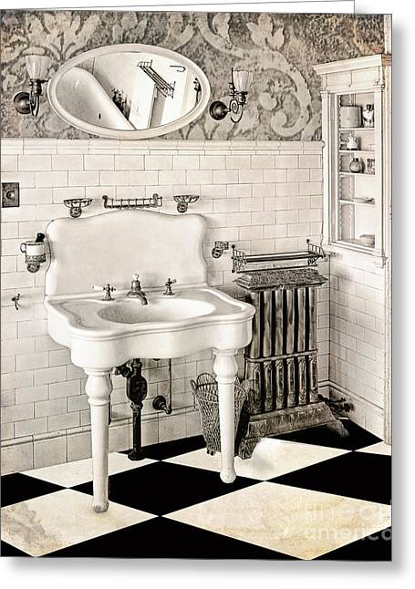 Checkerboard Floor Greeting Cards - Victorian Bathroom Greeting Card by Mindy Sommers