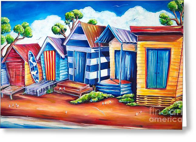 Victorian Beach Huts Greeting Card by Deb Broughton