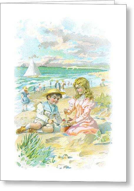 Sailboat Ocean Greeting Cards - Victorian Cape May Children Greeting Card by Vintage