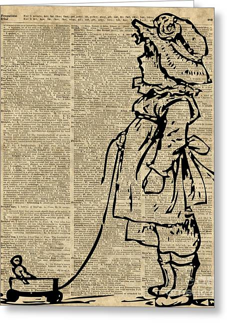 Child Toy Drawings Greeting Cards - Victorian Child on a Dictionary Page Greeting Card by Jacob Kuch