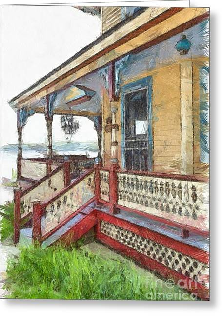 Victorian Cottage Weirs Beach Laconia New Hampshire Greeting Card by Edward Fielding