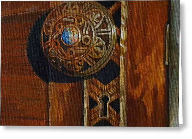 Hardware Drawings Greeting Cards - Victorian Doorknob Greeting Card by NJ Brockman