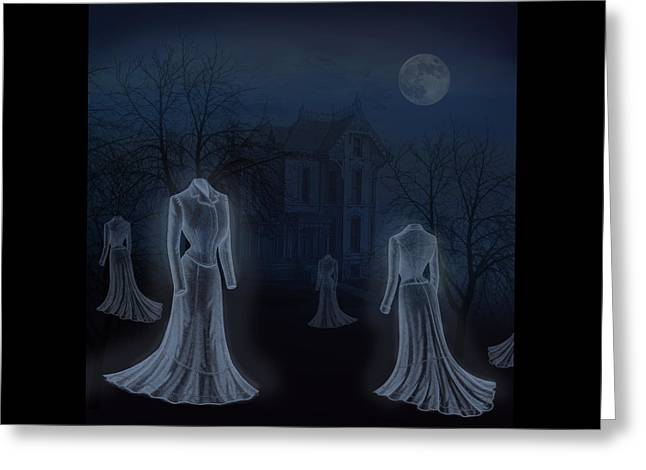 """""""haunted House"""" Drawings Greeting Cards - Victorian Haunting Greeting Card by Little Bunny Sunshine"""