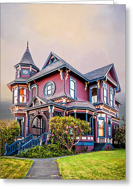 Historic Home Greeting Cards - Gingerbread House Greeting Card by Maria Coulson