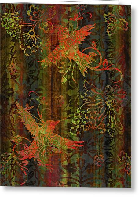 Tapestries Greeting Cards - Victorian Humming Bird 3 Greeting Card by JQ Licensing
