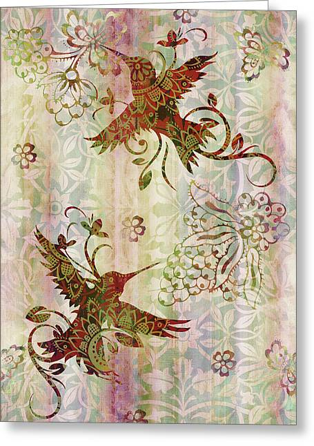 Tapestries Greeting Cards - Victorian Humming Bird Pink Greeting Card by JQ Licensing
