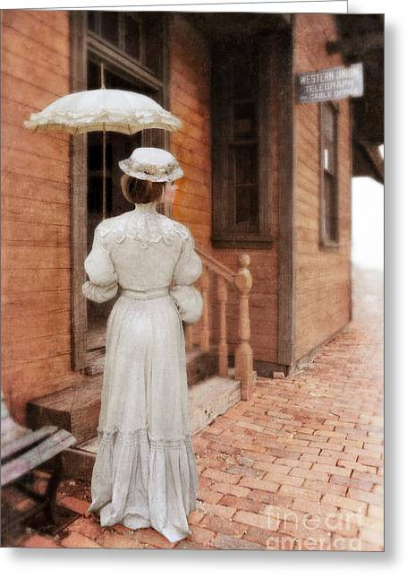 Teen Fashion Greeting Cards - Victorian Lady at Train Station Greeting Card by Jill Battaglia