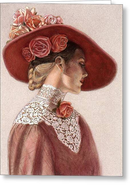 Romantic Pastels Greeting Cards - Victorian Lady in a Rose Hat Greeting Card by Sue Halstenberg