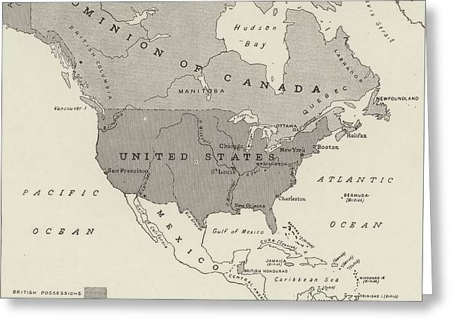 Victorian Map Of North America Showing Territory Owned By The United States And By Great Britain  Greeting Card by English School