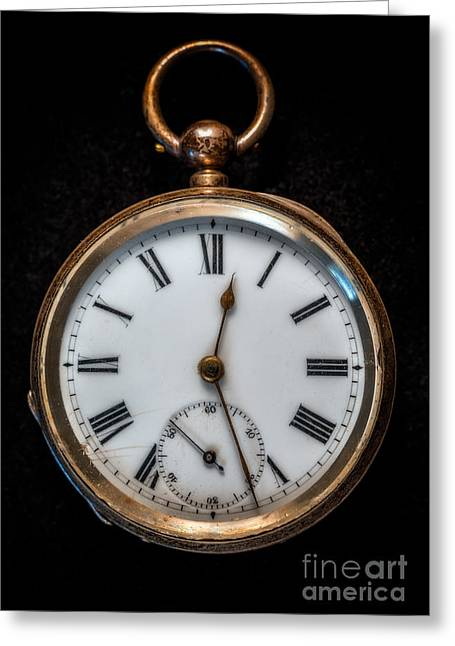 Watches Greeting Cards - Victorian Pocket Watch Greeting Card by Adrian Evans