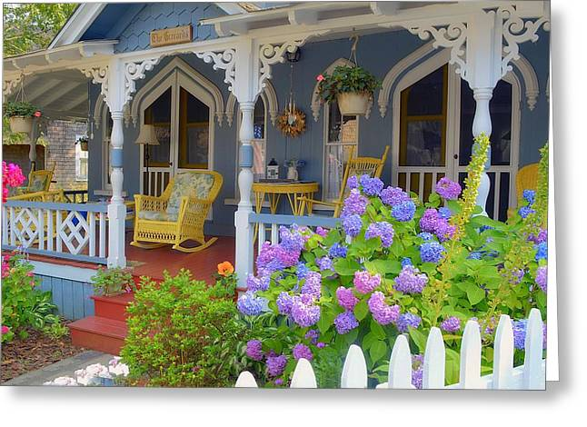 New England Village Greeting Cards - Victorian Porch Greeting Card by Rosemary Hildreth