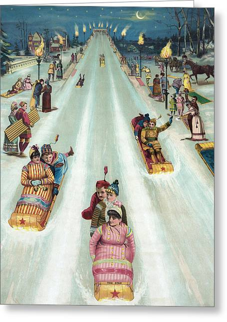 Winter Night Drawings Greeting Cards - Victorian Poster of Night Sledding Greeting Card by American School