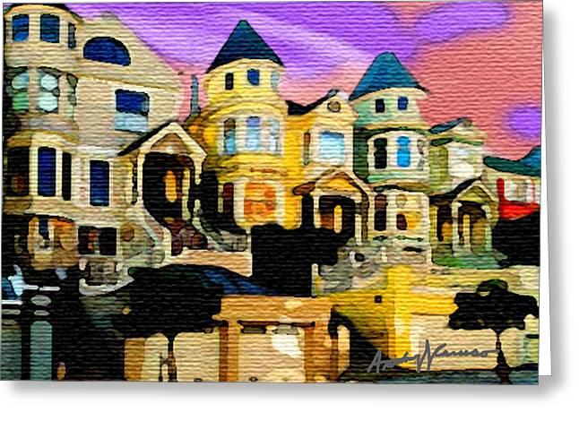 Homes Pastels Greeting Cards - Victorian Row Greeting Card by Anthony Caruso