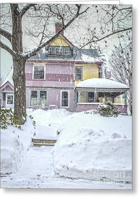 Painted Lady Greeting Cards - Victorian Snowstorm Greeting Card by Edward Fielding
