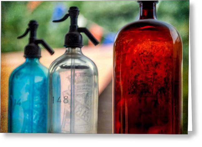 Antique Bottles Greeting Cards - Victorian Soda Syphon Greeting Card by Adrian Evans