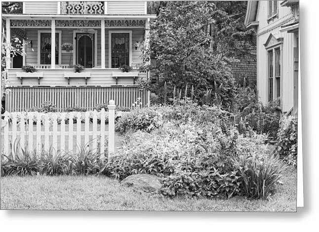 Old Maine Houses Greeting Cards - Victorian Style Cottage Northport Maine Black and White Photo Greeting Card by Keith Webber Jr