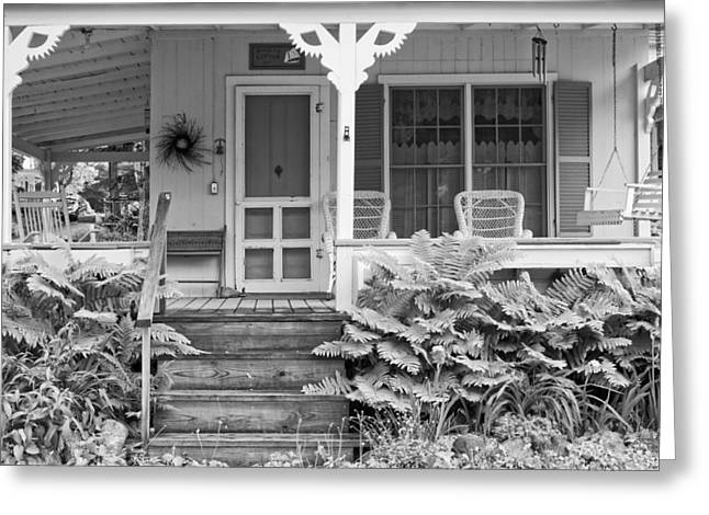 Old Maine Houses Greeting Cards - Victorian Style Cottage Northport Maine Black and White Photograph Greeting Card by Keith Webber Jr