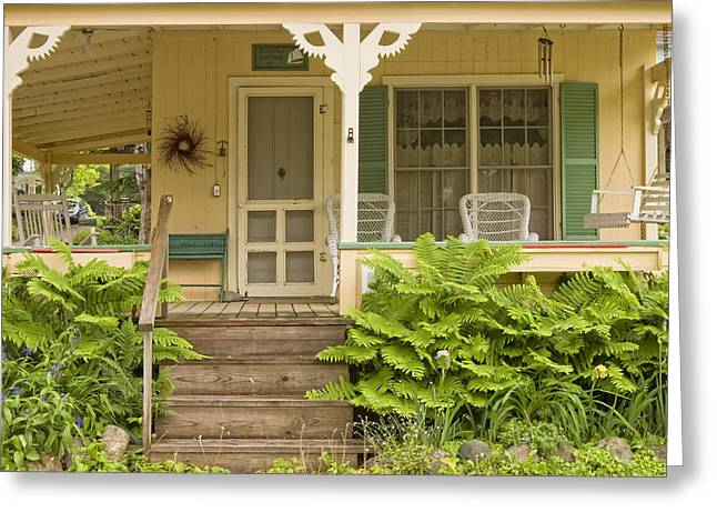 Old Maine Houses Greeting Cards - Victorian Style Cottage Porch Northport Maine Greeting Card by Keith Webber Jr
