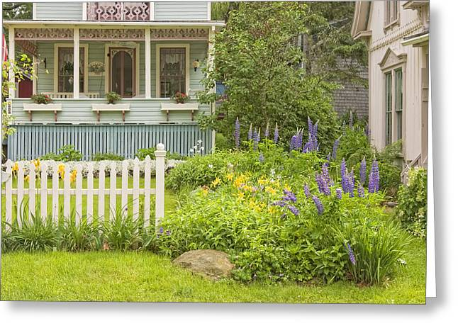 Old Maine Houses Greeting Cards - Victorian Style Gingerbread Cottage Northport Maine Greeting Card by Keith Webber Jr