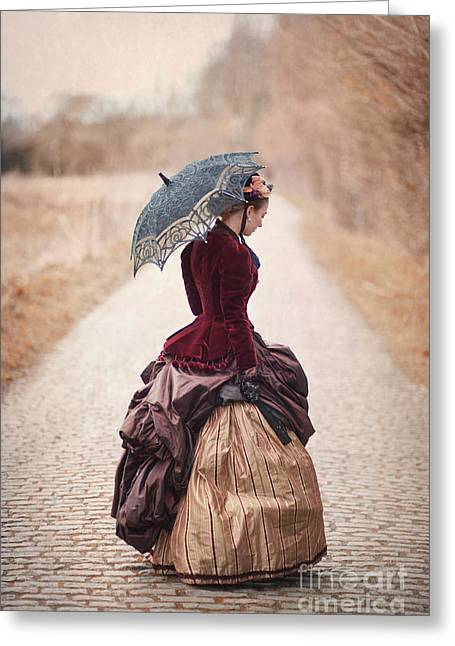 Satin Skirt Greeting Cards - Victorian Woman Alone On A Cobbled Path Greeting Card by Lee Avison