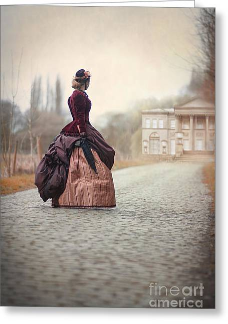 Satin Skirt Greeting Cards - Victorian Woman Approaching A Country House Greeting Card by Lee Avison