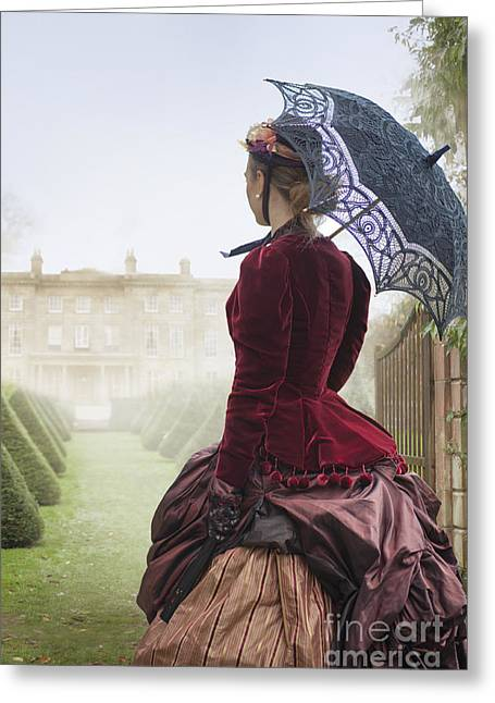 Satin Skirt Greeting Cards - Victorian Woman Approaching A Mansion House Greeting Card by Lee Avison