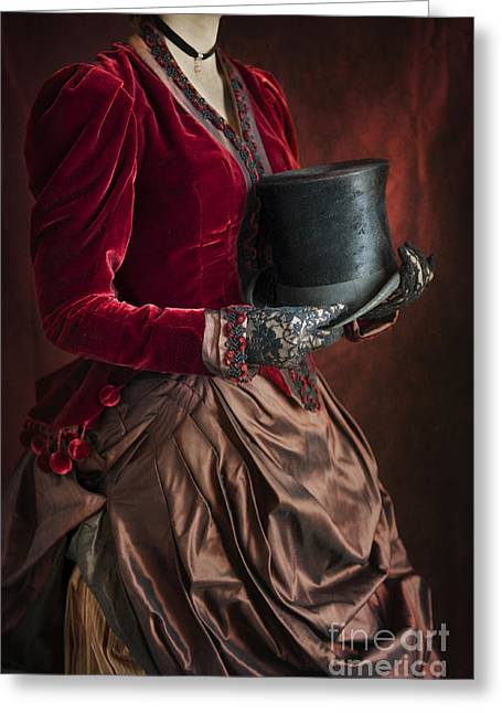 Satin Skirt Greeting Cards - Victorian Woman Holding A Top Hat Greeting Card by Lee Avison