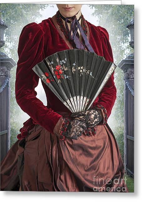 Satin Skirt Greeting Cards - Victorian Woman In A Crimson Velvet Dress With Fan Greeting Card by Lee Avison