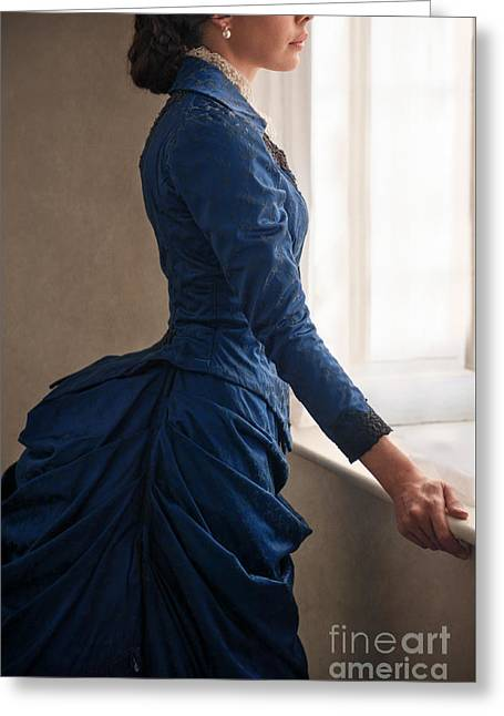 Updo Greeting Cards - Victorian woman leaning on a windowsill Greeting Card by Lee Avison