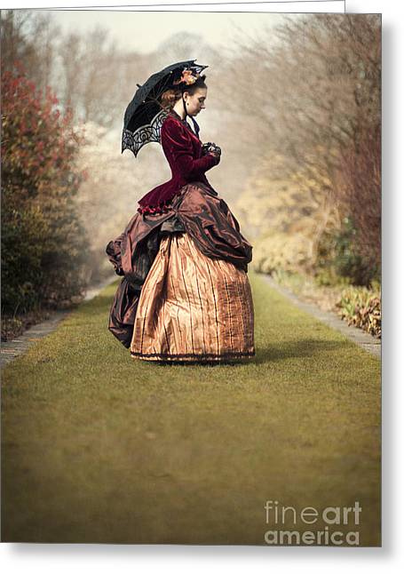 Satin Skirt Greeting Cards - Victorian Woman On A Lawned Path Greeting Card by Lee Avison