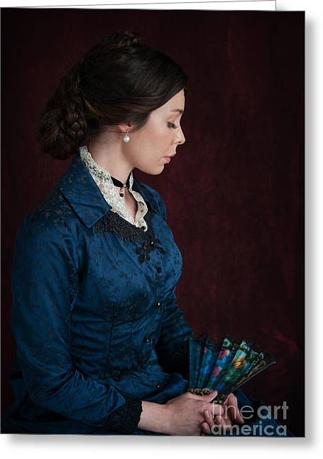 Braided Updo Greeting Cards - Victorian Woman Portrait In Profile  Greeting Card by Lee Avison