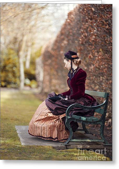 Satin Skirt Greeting Cards - Victorian Woman Sitting On A Garden Bench Greeting Card by Lee Avison
