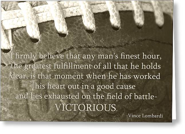 Word Greeting Cards - Victorious Greeting Card by Robin Hall