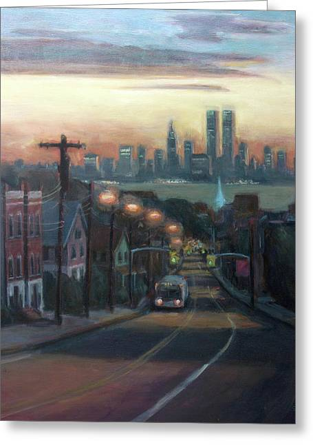 Twin Towers Greeting Cards - Victory Boulevard at Dawn Greeting Card by Sarah Yuster