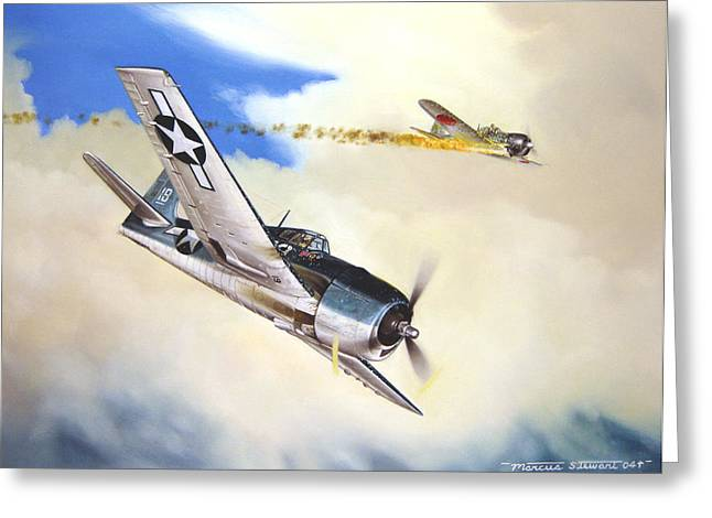Military Airplanes Paintings Greeting Cards - Victory For Vraciu Greeting Card by Marc Stewart
