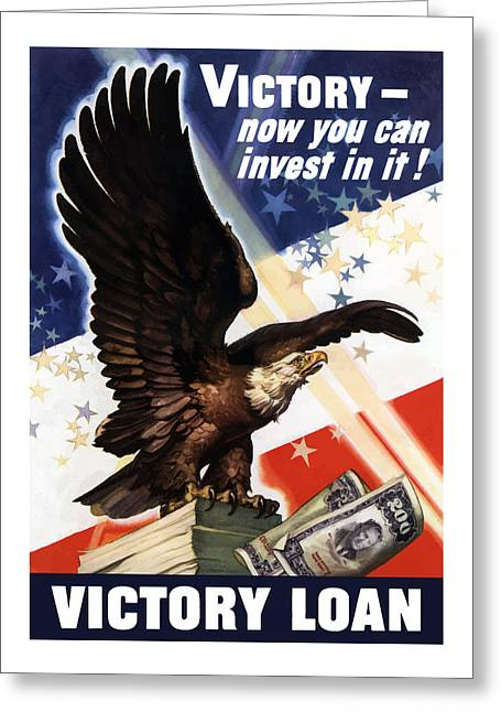 War Effort Mixed Media Greeting Cards - Victory Loan Bald Eagle Greeting Card by War Is Hell Store