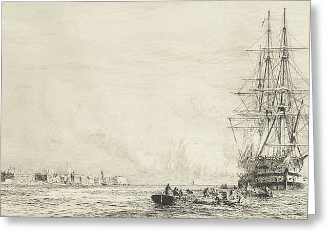 Victory Lying In The Harbour At Portsmouth Greeting Card by William Lionel