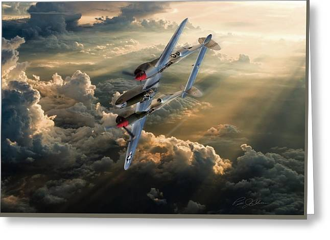 Vintage Aircraft Greeting Cards - Victory Roll Greeting Card by Peter Chilelli