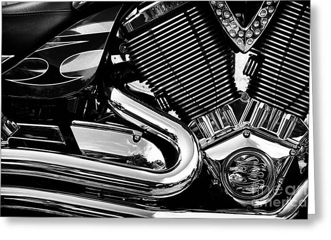 Victory Greeting Cards - Victory V Twin Abstract Greeting Card by Tim Gainey
