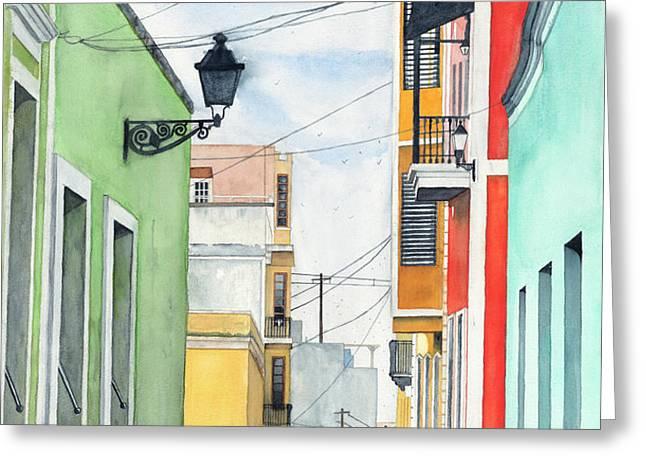 Viejo San Juan Greeting Card by Tom Dorsz