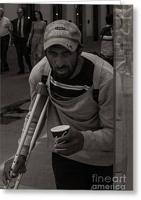 Cabelas Greeting Cards - Vienna Beggar in Cabela Cap Greeting Card by Gary Rieks