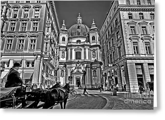 Horse And Buggy Greeting Cards - Vienna Scene Greeting Card by Madeline Ellis
