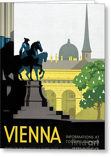 Europe Mixed Media Greeting Cards - Vienna Vintage Travel Poster Restored Greeting Card by Carsten Reisinger