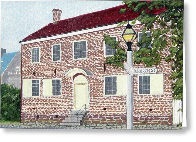 Old House Photographs Paintings Greeting Cards - Vierling House Old Salem of NC Greeting Card by Jason Zhang