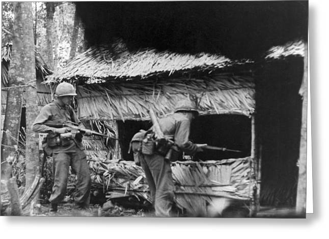 Viet Cong Camp Greeting Card by Underwood Archives