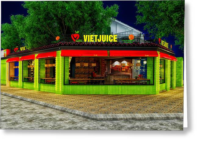 Night Cafe Greeting Cards - Viet Juice Greeting Card by Chien Than