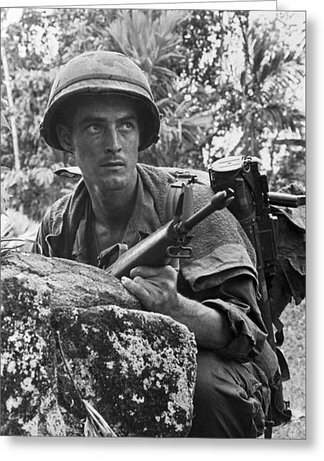 Vietnam Soldier Greeting Card by Underwood Archives
