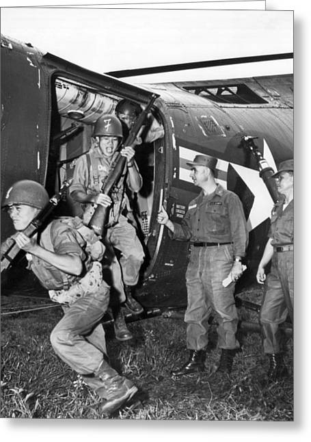 Vietnam Us Army Advisors Greeting Card by Underwood Archives