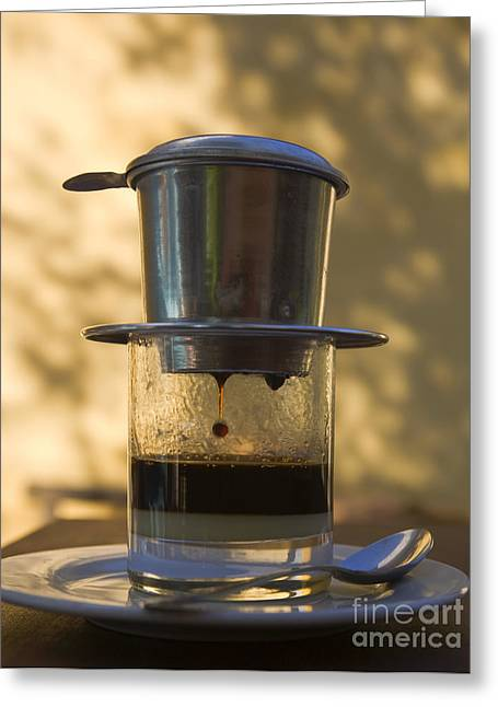 Drip Greeting Cards - Vietnamese Coffee Pot Greeting Card by David Buffington